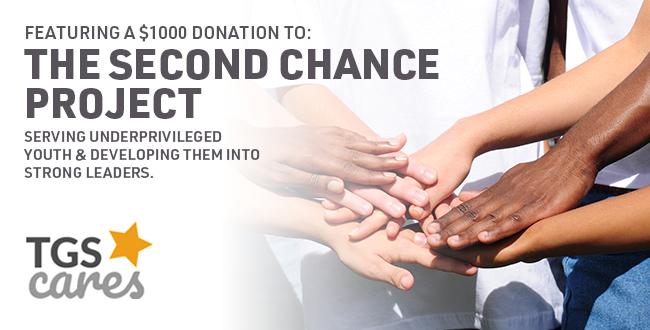 Web Banner: On Customer Appreciation Day in South Aurora, TGS will present a $1000 donation to the Second Chance Center.