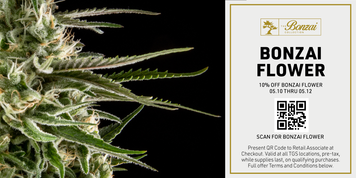Web Banner: Spring into great Flower Deals at The Green Solution, including 10% off any Bonzai Flower purchase when you present this QR code at checkout, pre-tax thru 05/12.