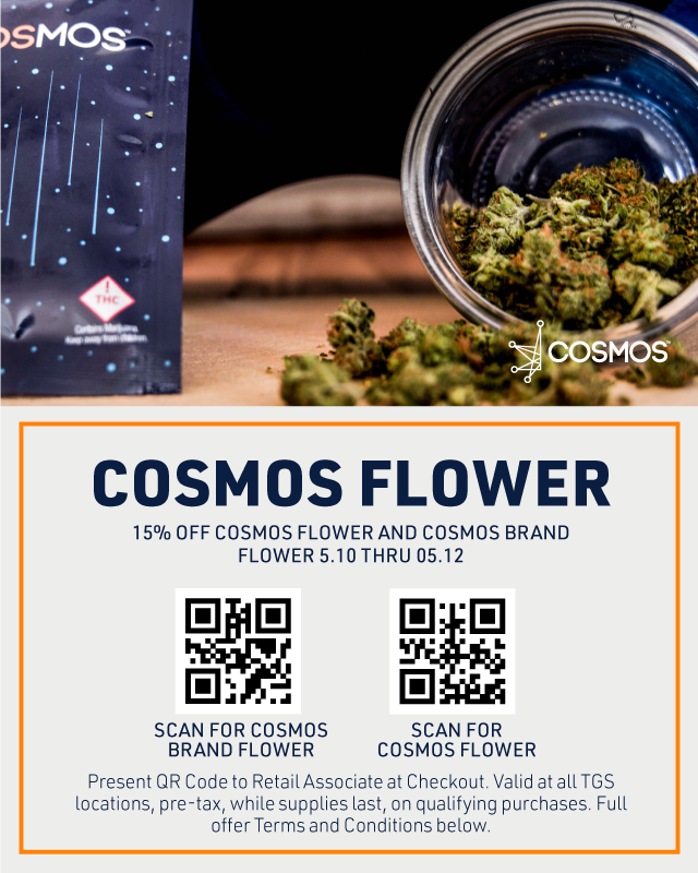 Web Banner: Get 15% off any Cosmos or Cosmos Brad Flower with this QR code at checkout, pre-tax valid 5/10 thru 5/12