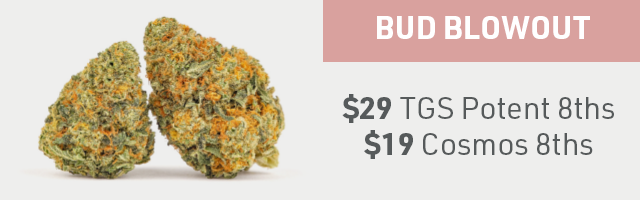 Bud Blowout: $29 Potent 8ths or $19 Cosmos 8ths
